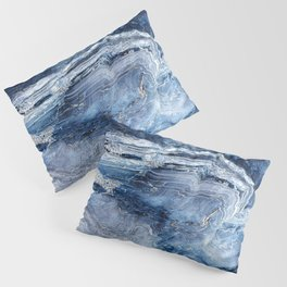 """Travel & nature photography """"details of a rock in blue colors. Abstract fine art photo print.  Pillow Sham"""