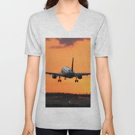 Beautiful Airbus Sunset Landing Unisex V-Neck