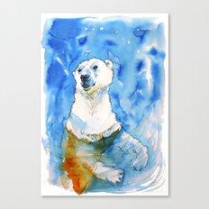 Polar Bear Inside Water Canvas Print