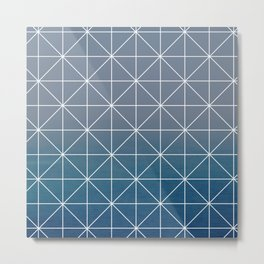 Blue degrade grid Metal Print