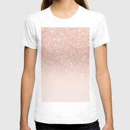 Rose gold faux glitter pink ombre color block T-shirt