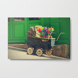 Vintage colorful baby stroller - Fine Art Photography Metal Print