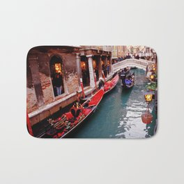 Gondolas On A Small Venetian Canal Bath Mat