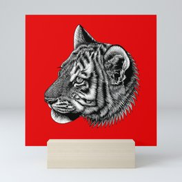 Amur tiger cub - big cat - ink illustration - red Mini Art Print