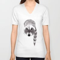 racoon V-neck T-shirts featuring Racoon by MichaelJenningsDoodleBoy