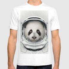 Panda Astro Bear Mens Fitted Tee White MEDIUM