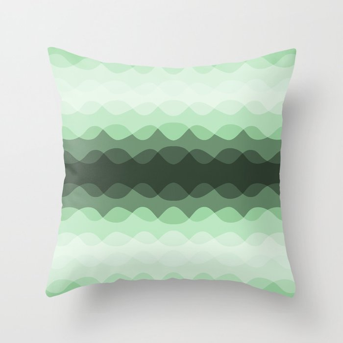 Pastel Mint Green Overlapping Wavy Line Pattern Pairs to Coloro 2020 Color of the Year Neo Mint Throw Pillow