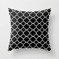 Black & White Morrocan Quatrefoil Design Throw Pillow