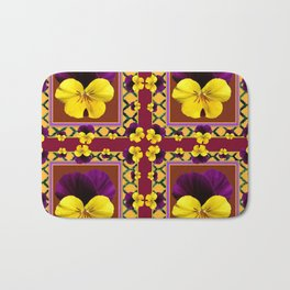 MAROON QUATREFOIL PURPLE & YELLOW SPRING PANSIES Bath Mat