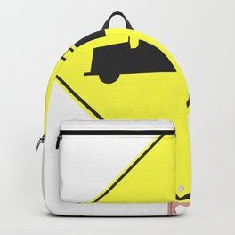 """Firestation"" - 3d illustration of yellow roadsign isolated on white background Backpack"
