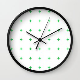 PLUS ((true green on white)) Wall Clock