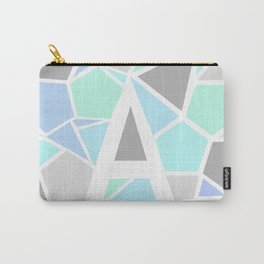 Letter A Geometric Shapes in Cool Colors Carry-All Pouch