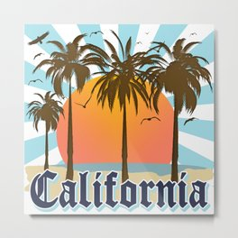 California Vintage Style Retro Cali Travel Souvenir  Metal Print