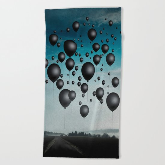 In Limbo - black balloons Beach Towel