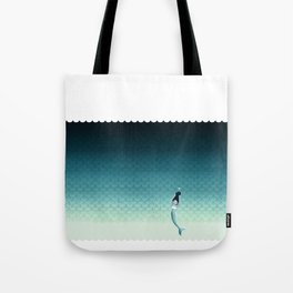 Suomu Blue mermaid scale pattern with a mermaid Shower curtain or Duvet cover Tote Bag