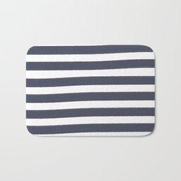Brushy Stripes - Navy Bath Mat