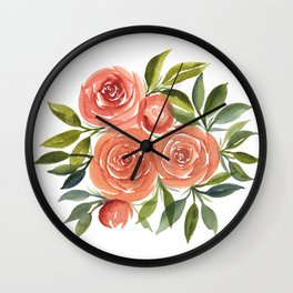 Peach and Green Rose Bouquet Wall Clock