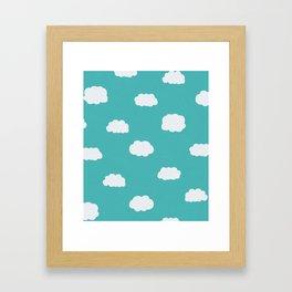Cartoon Clouds Pattern Framed Art Print