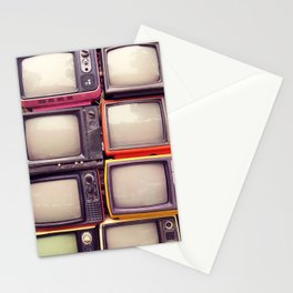 Wall of pile colorful retro television (TV) Stationery Cards