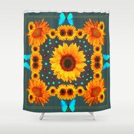 Blue Butterflies Golden Sunflowers Teal Art Shower Curtain