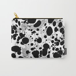 Black White Gray Monochrome Bubble Dots Spilled Ink Mess Effect Carry-All Pouch