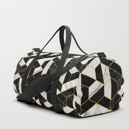 Black and White Marble Hexagonal Pattern Duffle Bag