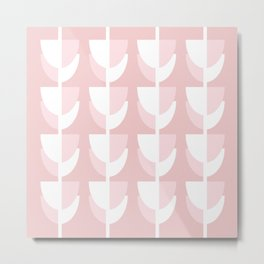 Pink Tulips - Abstract Geometric Design Metal Print