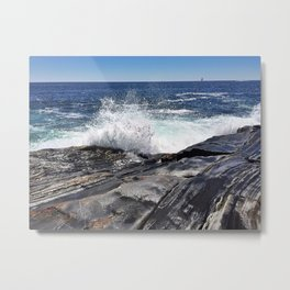 Waves Crashing on Pemaquid Point in Maine (1) Metal Print
