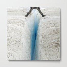 Don't Slip! Alaskan Glacier's Dangerous, Deep Crevasse Metal Print