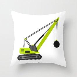 wrecking ball crane Throw Pillow