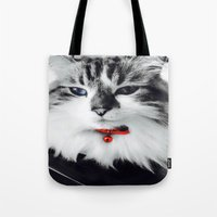 kiki Tote Bags featuring Mr. Kiki by  Naartjie Photography