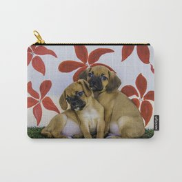 Two Puggle Puppies Snuggling in front of a Background with Hand-painted Red Flowers Carry-All Pouch