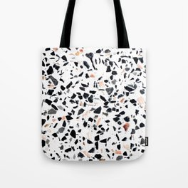 Terrazzo Stone Pattern Black and Orange Peach Tote Bag