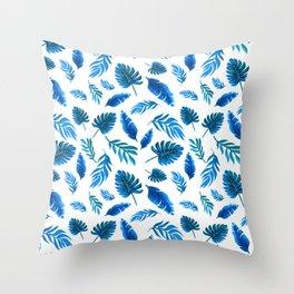 Blue Palm leaf watercolor art Throw Pillow