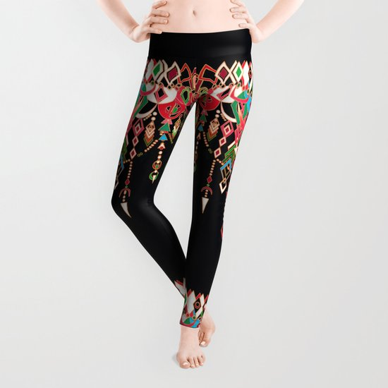 Modern Deco in Red and Black Leggings