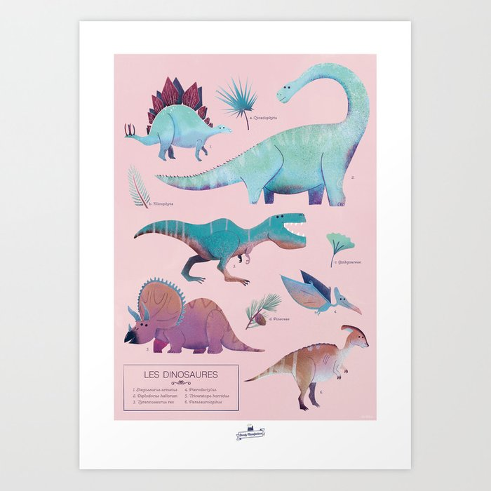 Les dinosaures Art Print