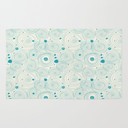 Blue Scribbles Pattern 04 Rug