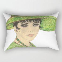 Lady In Green Rectangular Pillow