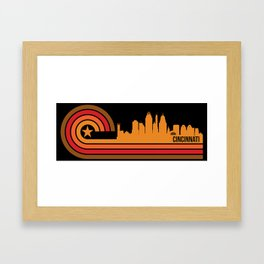 Retro Cincinnati Ohio Skyline Framed Art Print