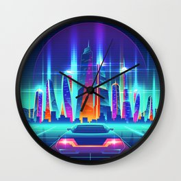 Synthwave Neon City #12 Wall Clock
