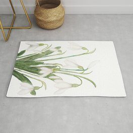 white snowdrop flower watercolor Rug