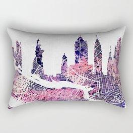 New York Skyline + Map Rectangular Pillow