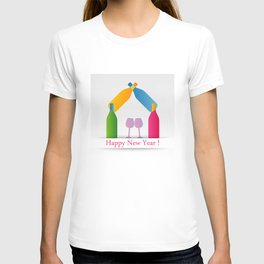 New year greetings with House formed with many colorful bottles and glasses T-shirt