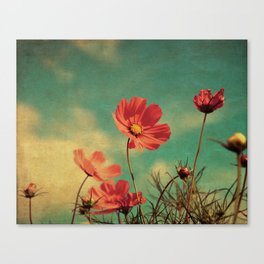 Windy Day Wildflowers - Kitschy Nature Print Aged, Grungy Canvas Print
