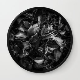 closeup leaves texture background in black and white Wall Clock