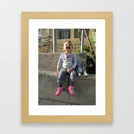 Kid and Friend Framed Art Print
