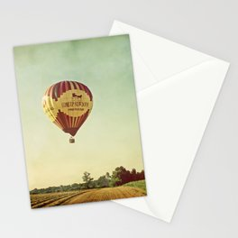 Hot Air Balloon Over Farmland Stationery Cards
