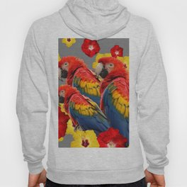 TROPICAL FLORAL MACAWS & RED YELLOW HIBISCUS FLOWERS Hoody