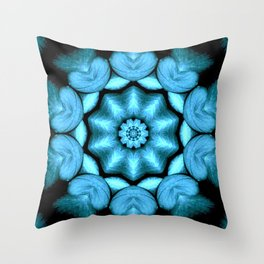 Blue Green Heart Mandala Kaleidoscope Pattern Throw Pillow