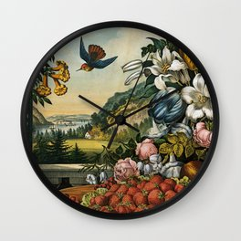 Landscape, Fruit and Flowers Wall Clock